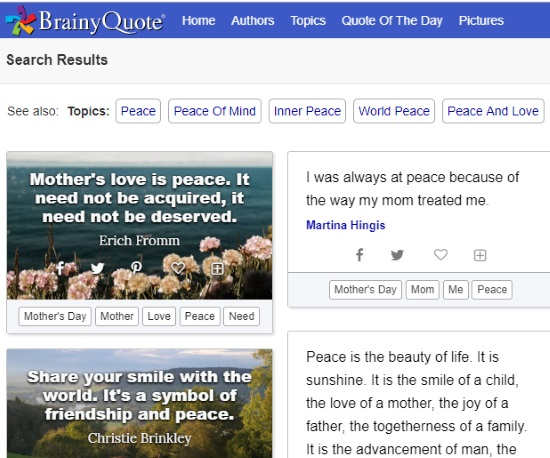 Search engine for quotes