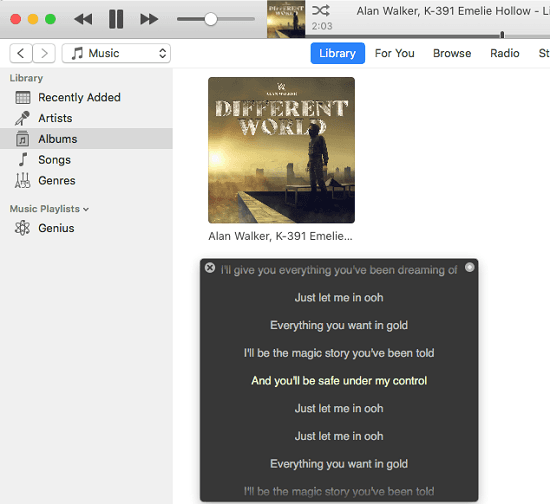 See Lyrics of Current Playing Song in iTunes, Spotify, Vox in macOS