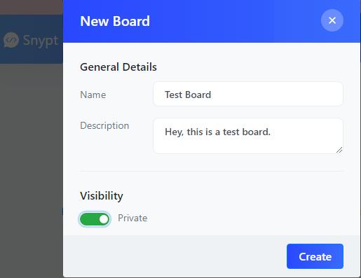 Snypt create board