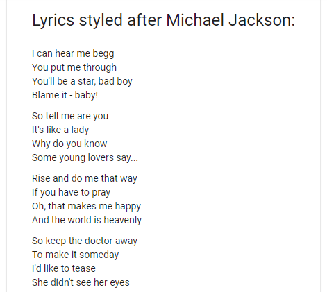 Song Lyrics in the style of an artist