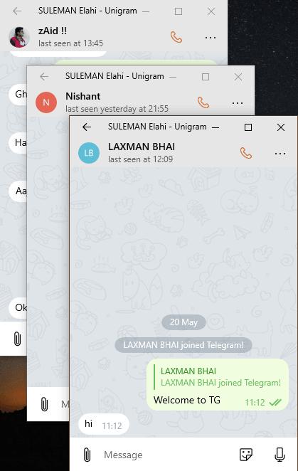 Unigram multiple chat window