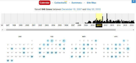 View webpages on wayback machine by year