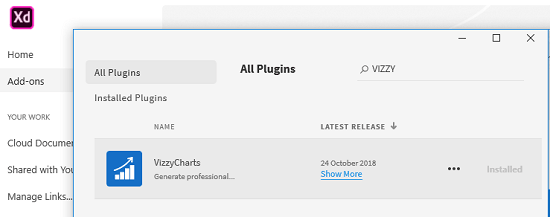 VizzyCharts plugin in adobe store