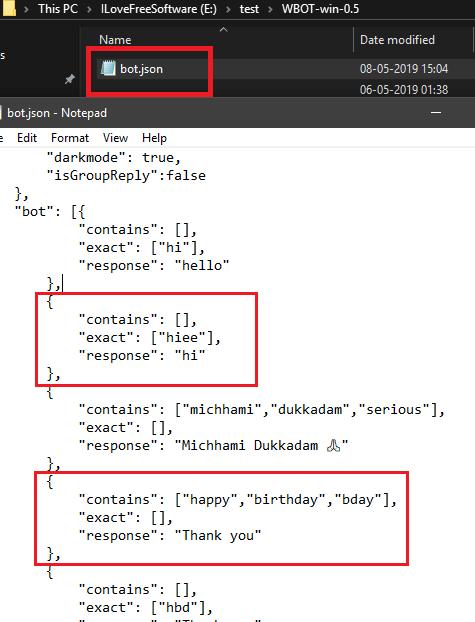 WBOT bot JSON file