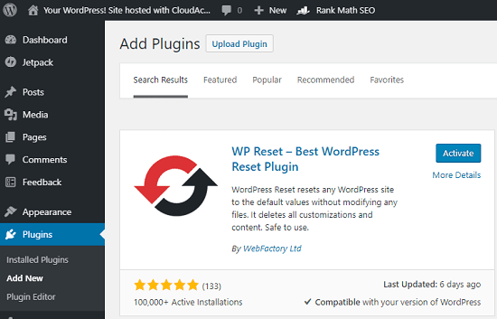 WP Reset in WordPress plugins section