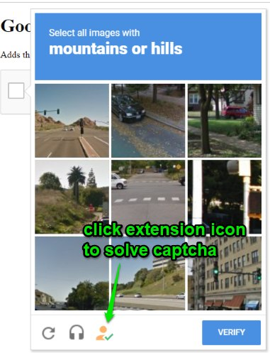 click extension icon to solve captcha
