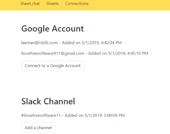 connect google accounts and slack channel