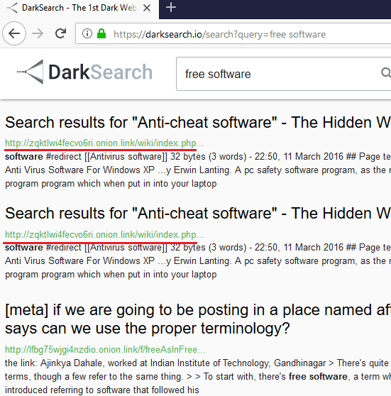 Dark Web Search Engine with API: DarkSearch