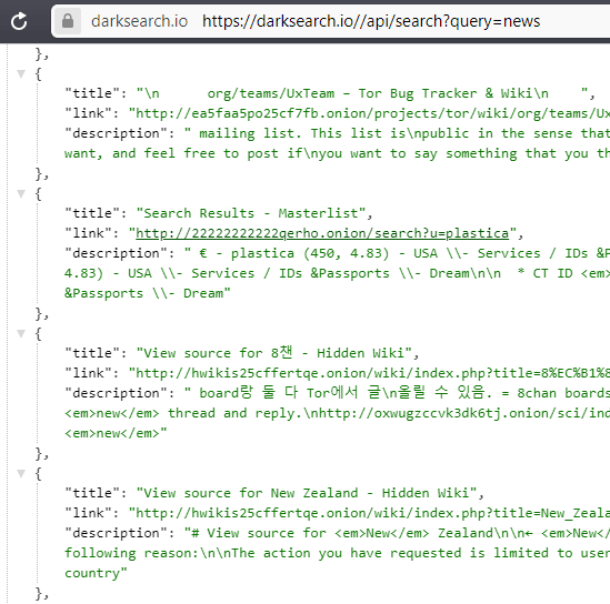 darksearch api usage in action
