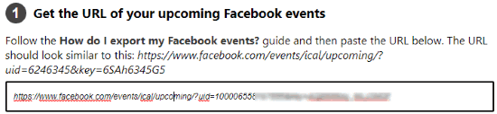 enter url of upcoming facebook events
