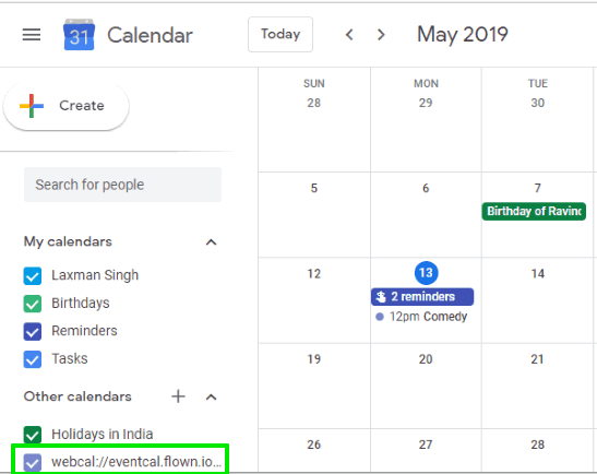 facebook upcoming going to events added to google calendar