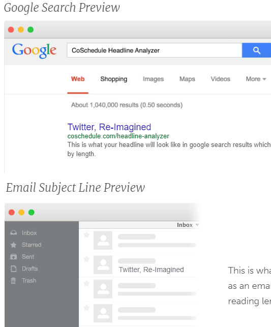 headline search and email preview