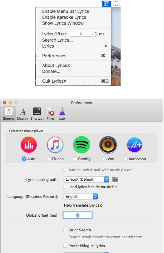 lyricsx interface
