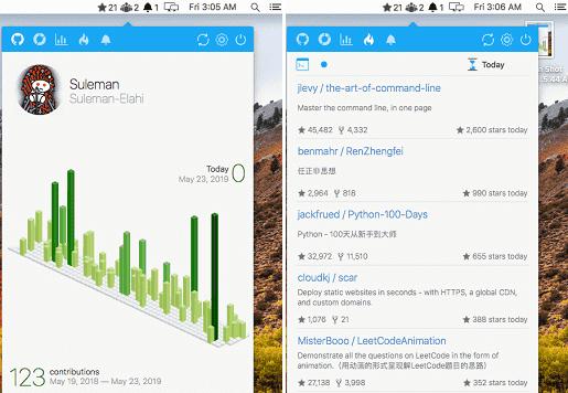 macOS menubar app for GitHub to See Stars, followers, Statistics