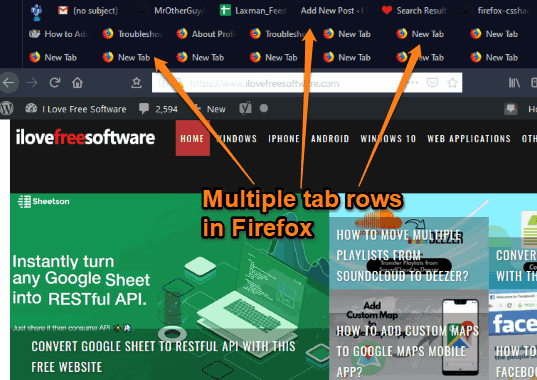 multiple tab rows visible in firefox