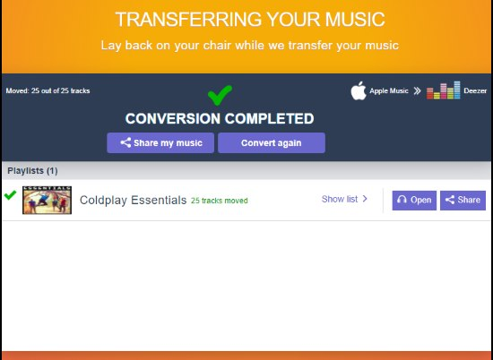 playlist transfer completed