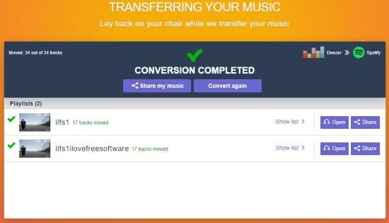 playlists transferred from deezer to spotify