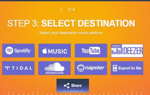 select Apple Music as destination