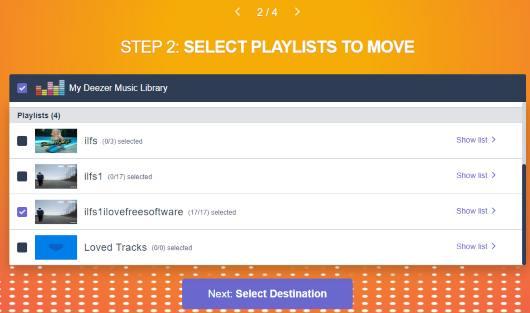 select deezer playlists to transfer