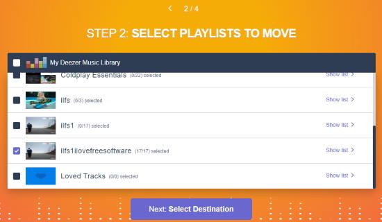 select playlists and songs