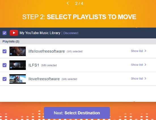 select playlists and tracks