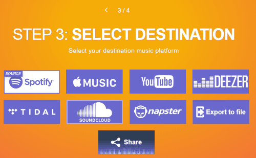 select soundcloud platform as destination