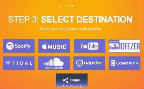 select spotify as destination