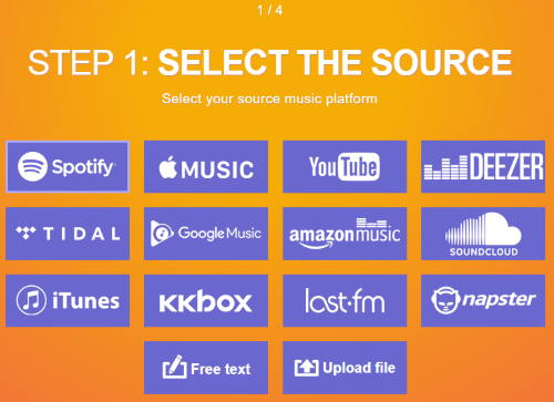 select spotify as source
