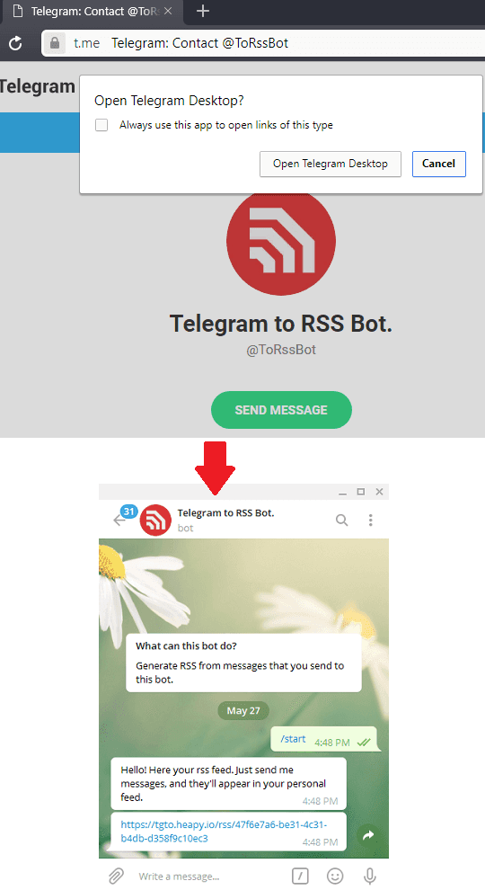 telegram add bot and oprn