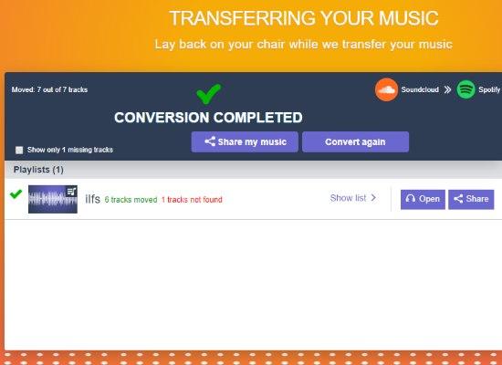 tracks of a soundcloud playlist transferred to spotify