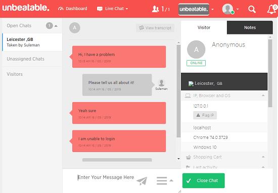 unbeatable chat dashboard
