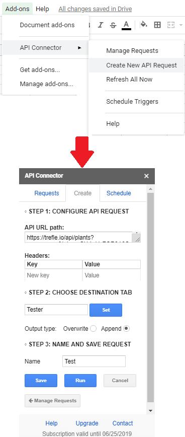 API Connector fill credentials