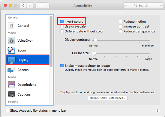 Accessibility settings MAC