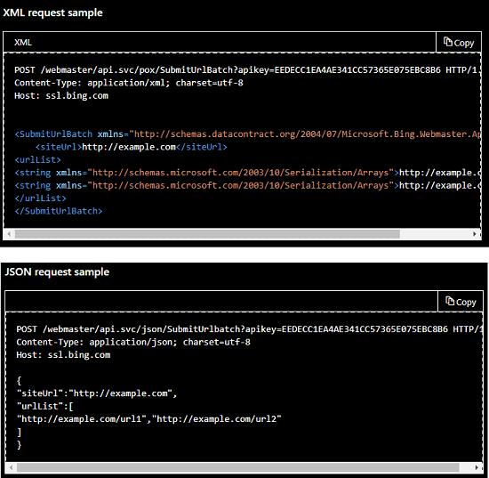 Bing Webmaster Tool API Call Request