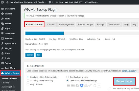 Create backup of WordPress