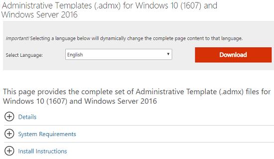 Downlaod administrative templates Microsoft Edge Chromium