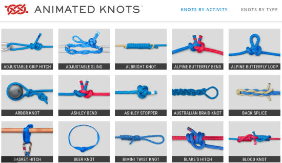 Find knots by category and learn to tie knots