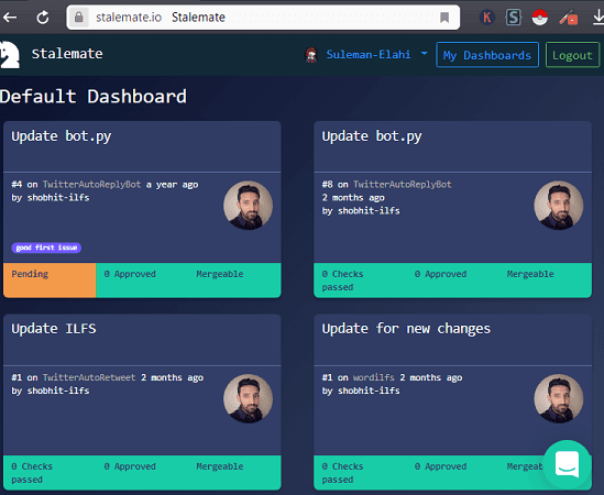 GitHub PR Dashboard overview