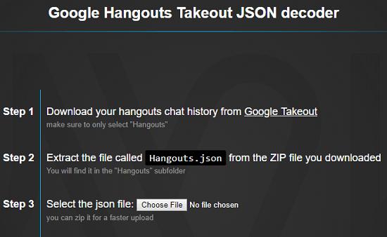Google hangouts Takeout JSON Decoder Home
