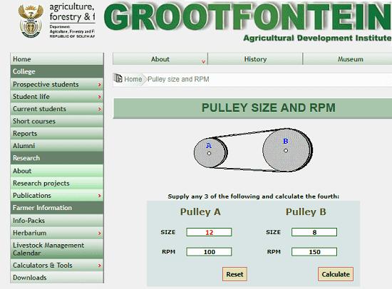 GrootFontien pulley calculator