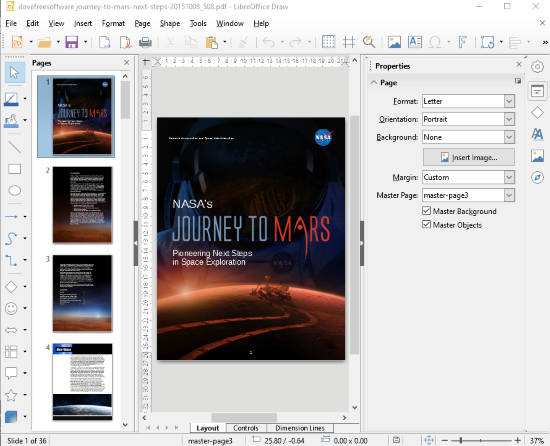 LibreOffice Draw- interface
