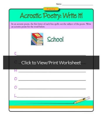 Printable poetry worksheets