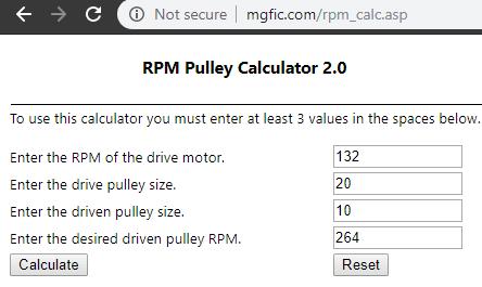 RPM Pulley Calculator 2.0