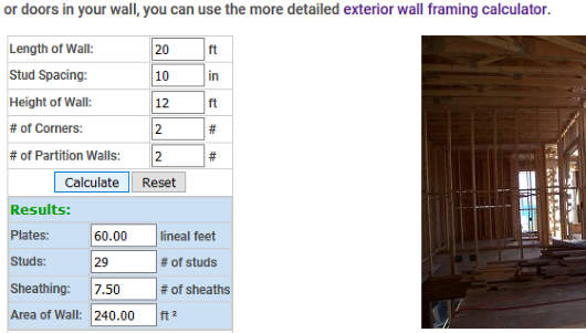Stud Wall Framing Calculator