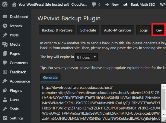 WPvivid Backup generate key for uplaoding