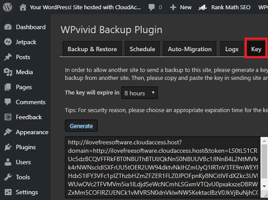 WPvivid Backup generate key for uplaoding