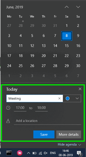 adding event feature is visible in windows 10 taskbar calendar