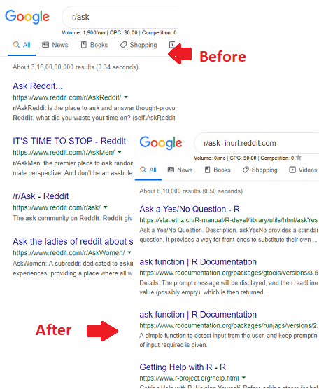 before after search results google built in