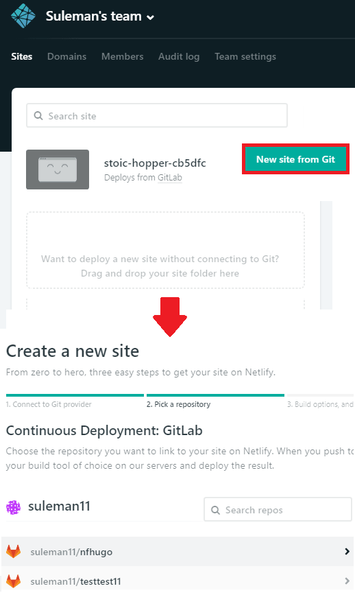 create site from GitLab