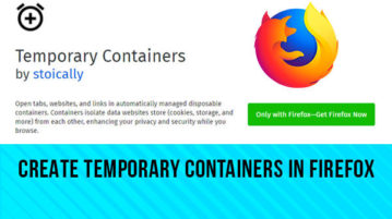 create temporary containers in firefox